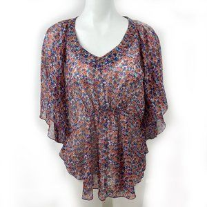 🎀 4/$20 DEX Sheer Floral Batwing Size Small